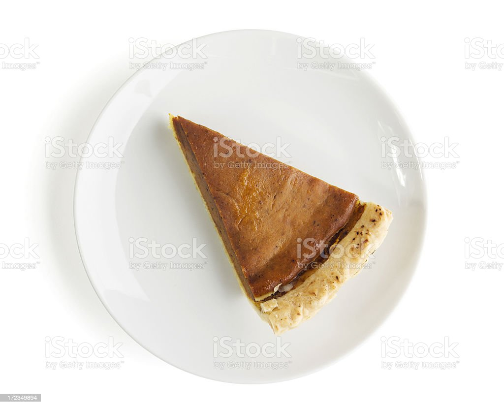Slice of Pumpkin Pie, Cut Dessert Isolated on White Background stock photo