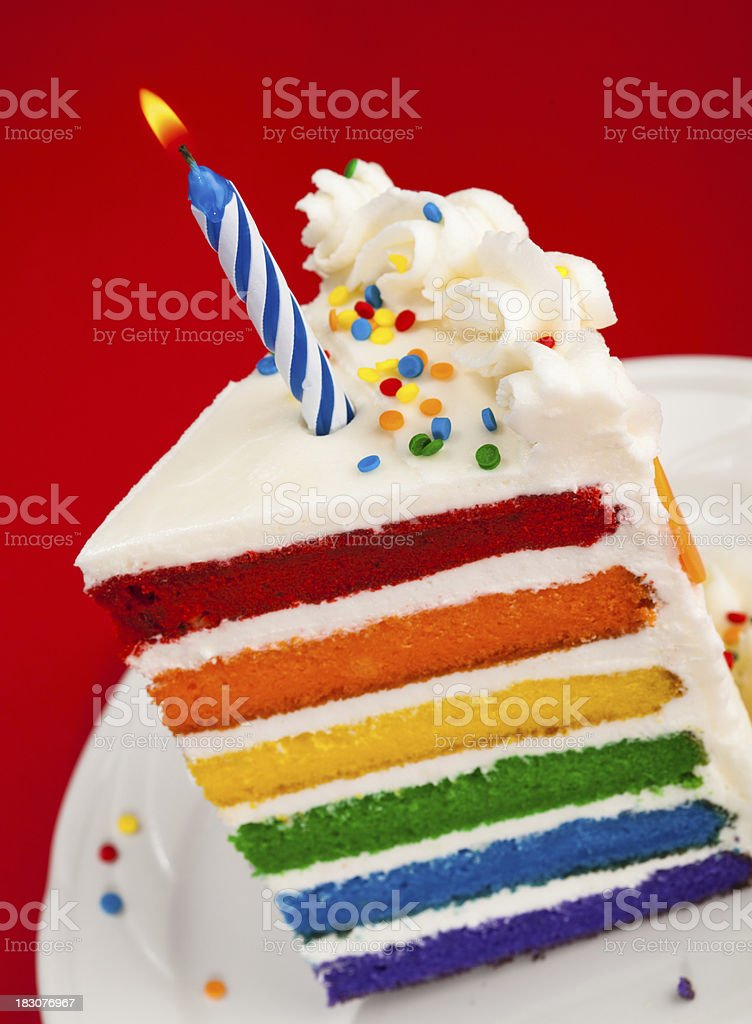 Slice Of Rainbow Birthday Cake Stock Photo More Pictures Of Baked