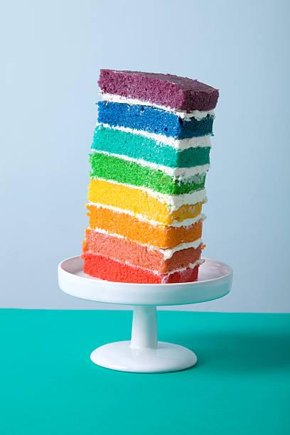 fetta di arcobaleno - arcobaleno foto e immagini stock