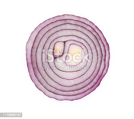 Top view of a red onion slice isolated on white background.