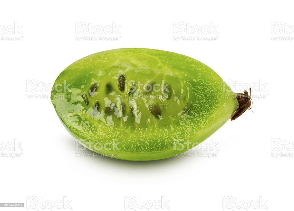 slice of ripe juicy gooseberry on the white background stock photo