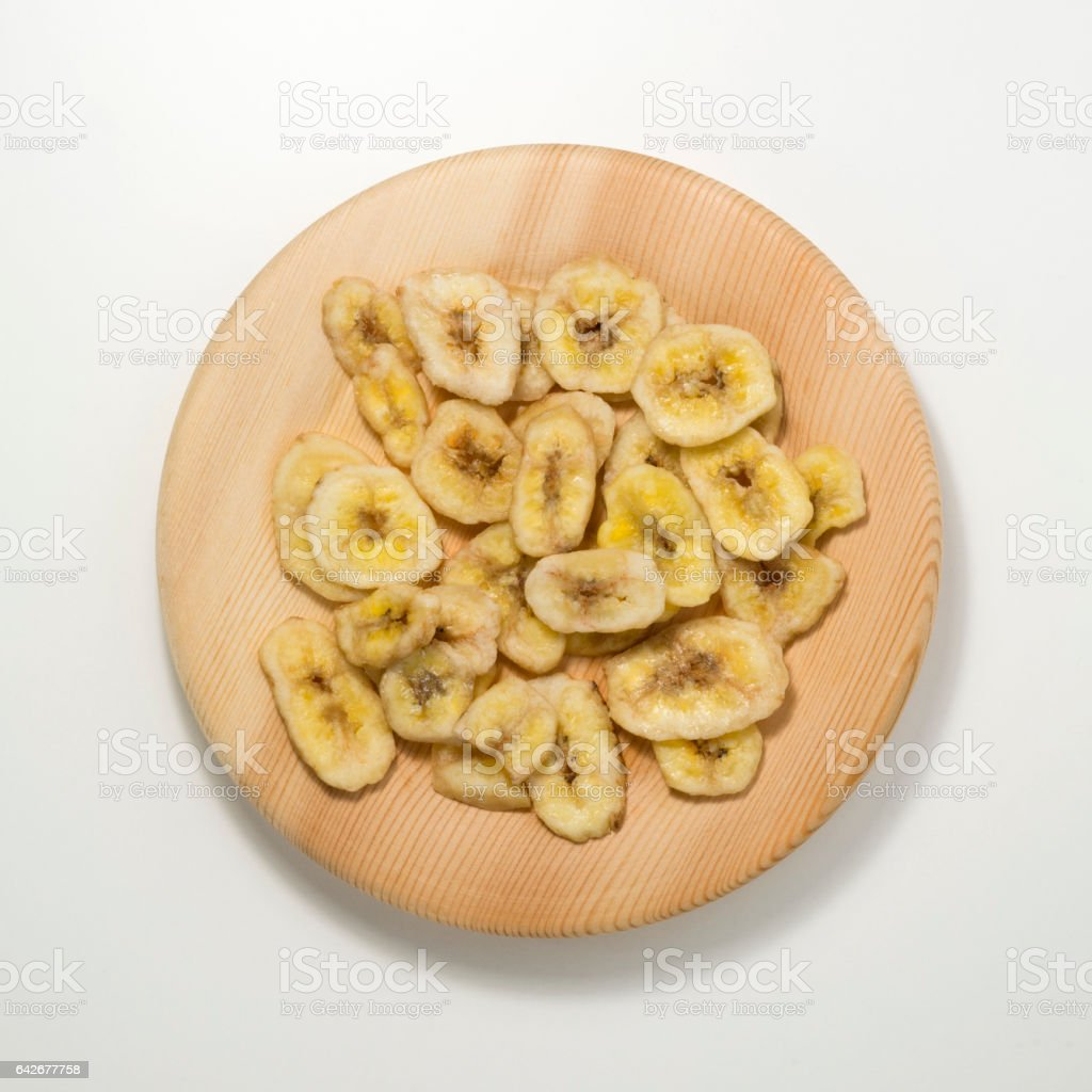 Slice of sweet dry bananas stock photo