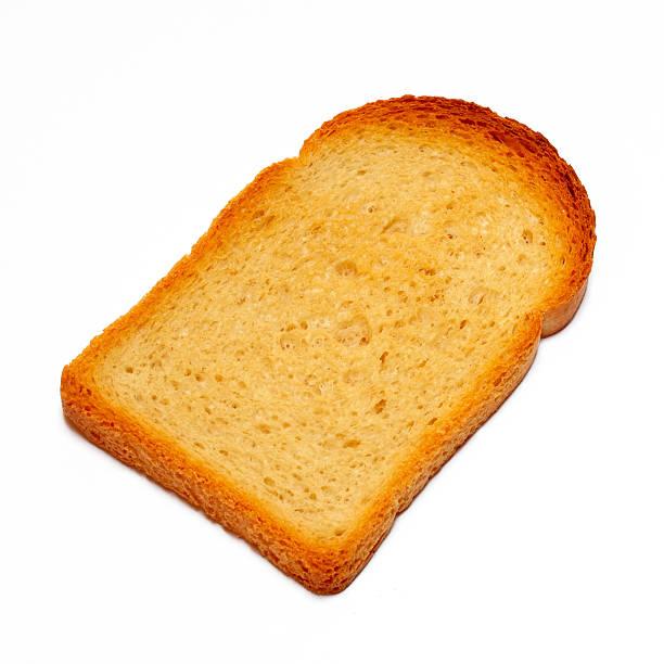 fetta di pane tostato con clipping path - fette biscottate foto e immagini stock