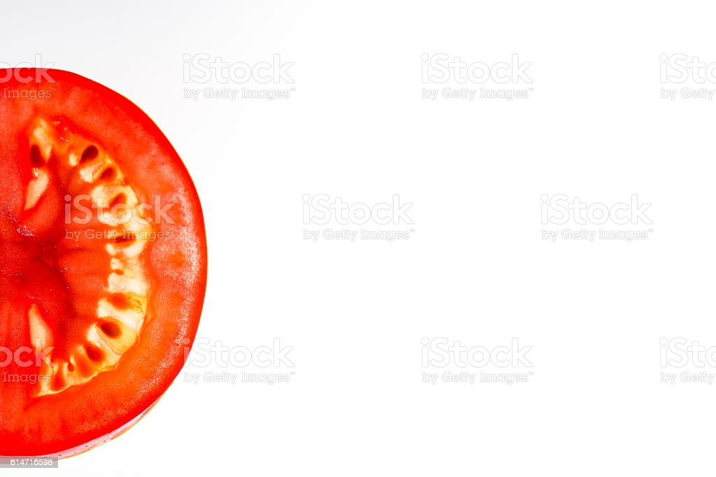 slice of tomato with space for text stock photo