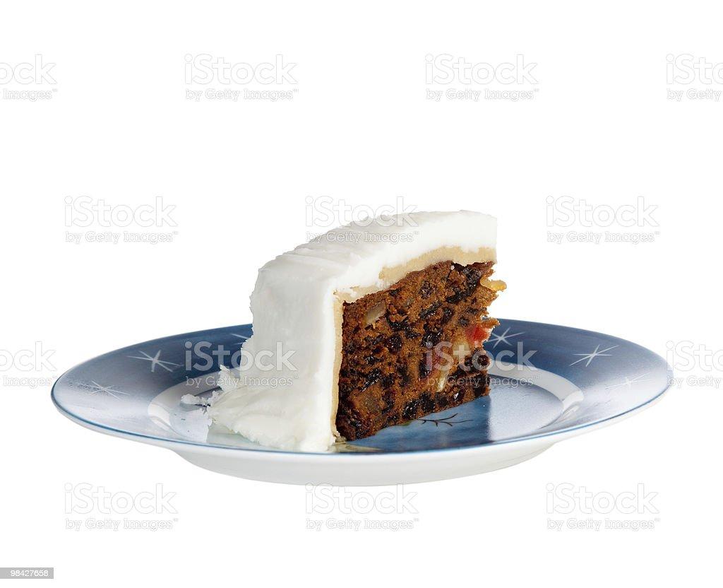 Slice of traditional xmas cake royalty-free stock photo