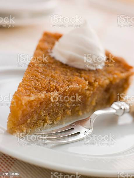 Slice Of Treacle Tart With Whipped Cream Stock Photo Download Image Now Istock