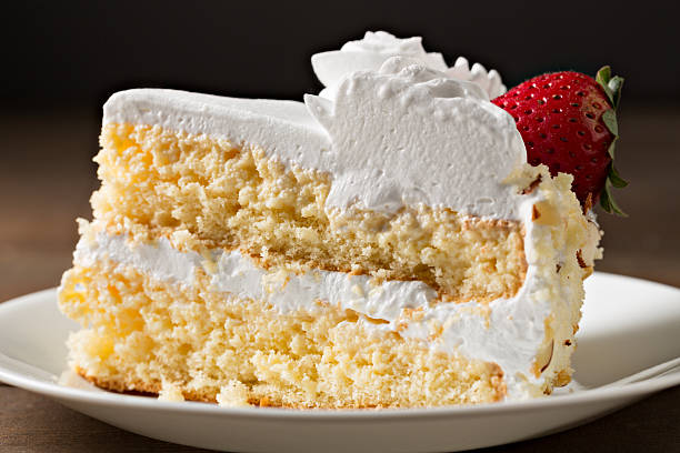 Slice Of Tres Leche Cake stock photo