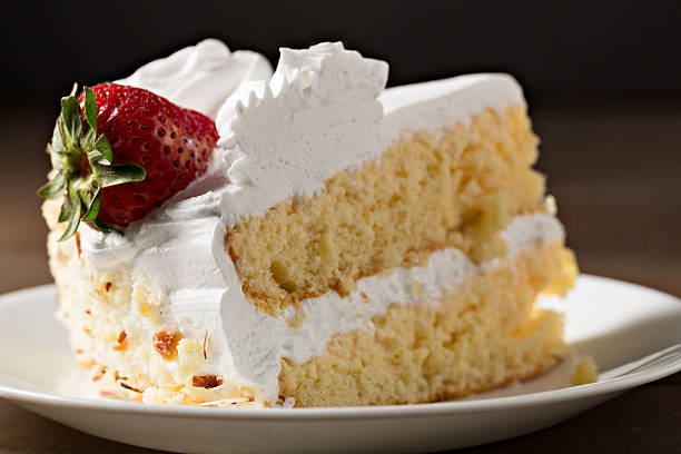 Slice Of Tres Leches Cake stock photo