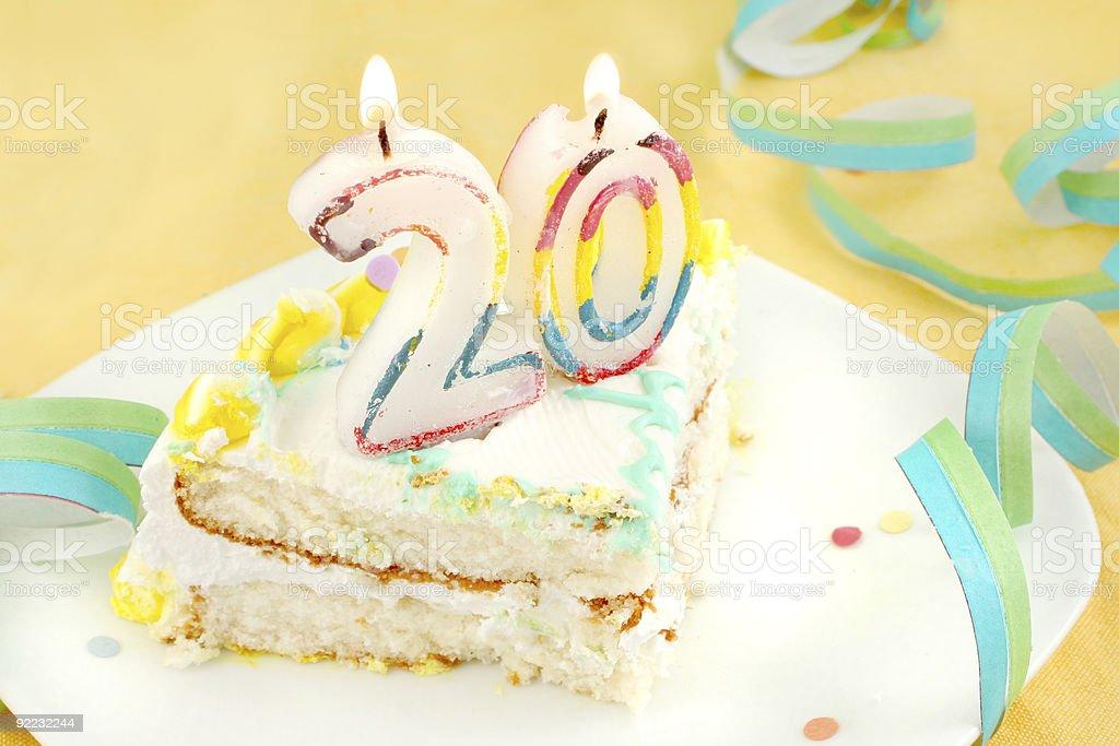 slice of twentieth birthday cake royalty-free stock photo