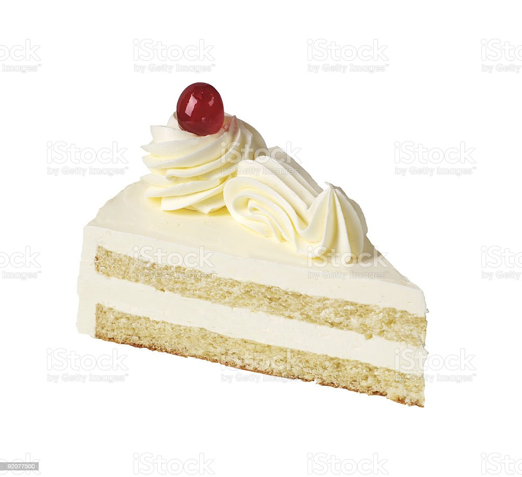A slice of vanilla cake on a white background stock photo