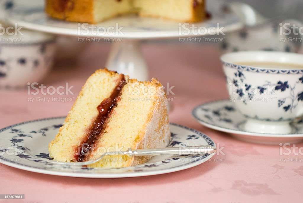 Slice of victoria sandwich royalty-free stock photo