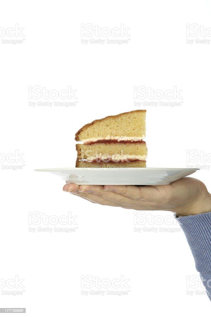 Slice of Victoria Sponge Cake royalty-free stock photo