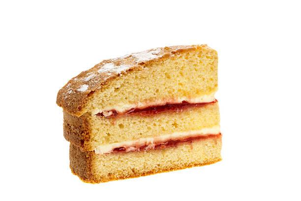 slice of victoria бисквитный торт - кусок торта стоковые фото и изображения