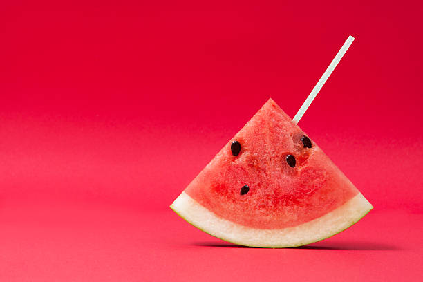 Slice of Watermelon on Red – Foto