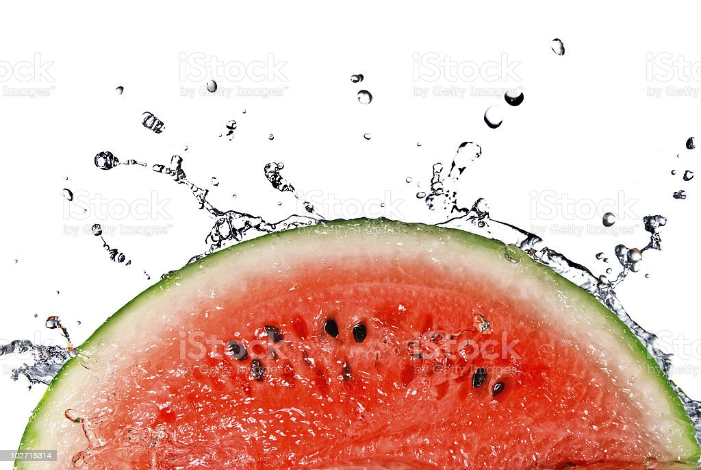 Slice of watermelon splashing into water royalty-free stock photo
