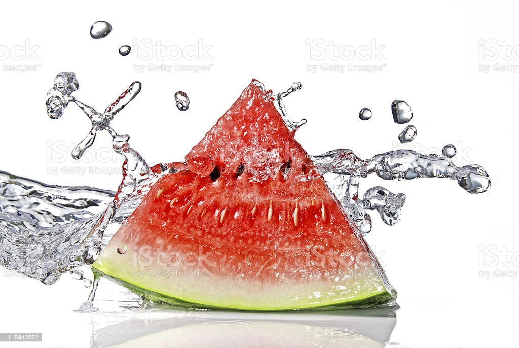 A slice of watermelon with a water splash stock photo