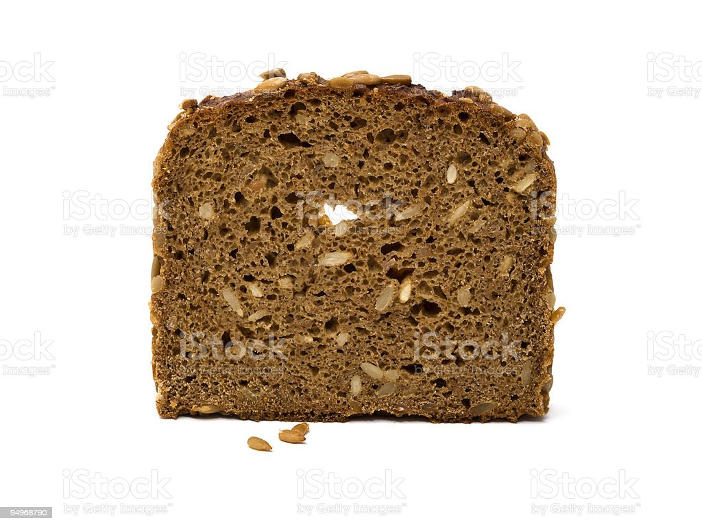 slice of whole grain brown bread stock photo