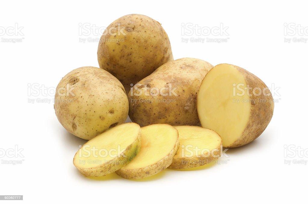 slice potato on white background royalty-free stock photo