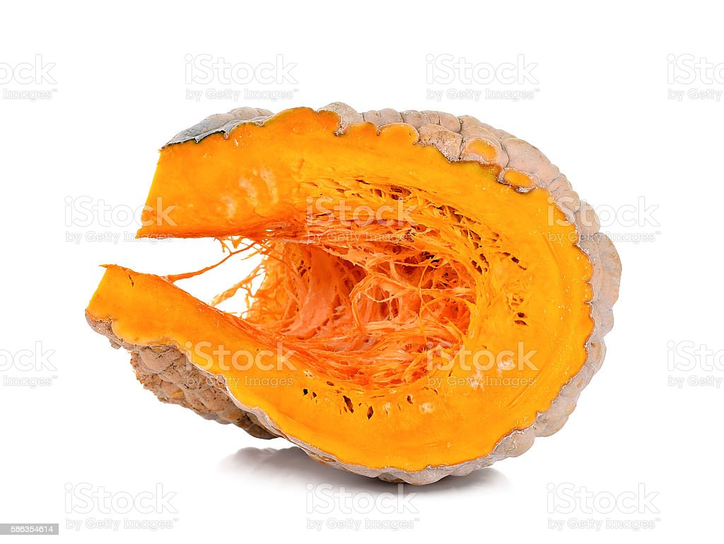 Slice pumpkin isolated on the white background stock photo