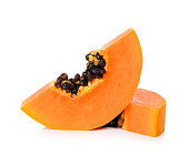 Slice ripe papaya isolated