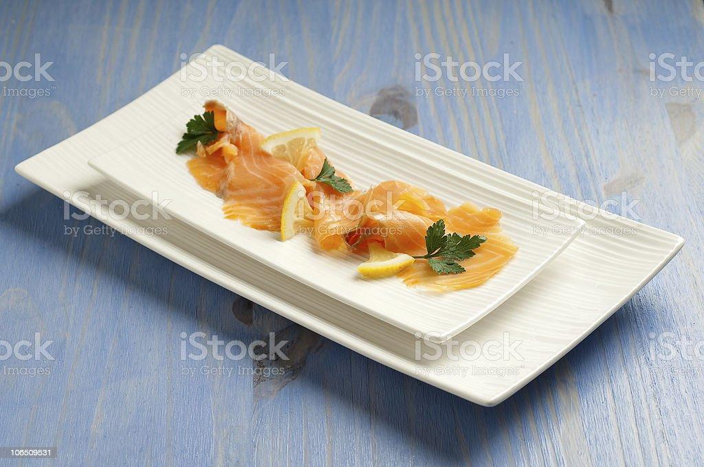 slice smoked salmon stock photo
