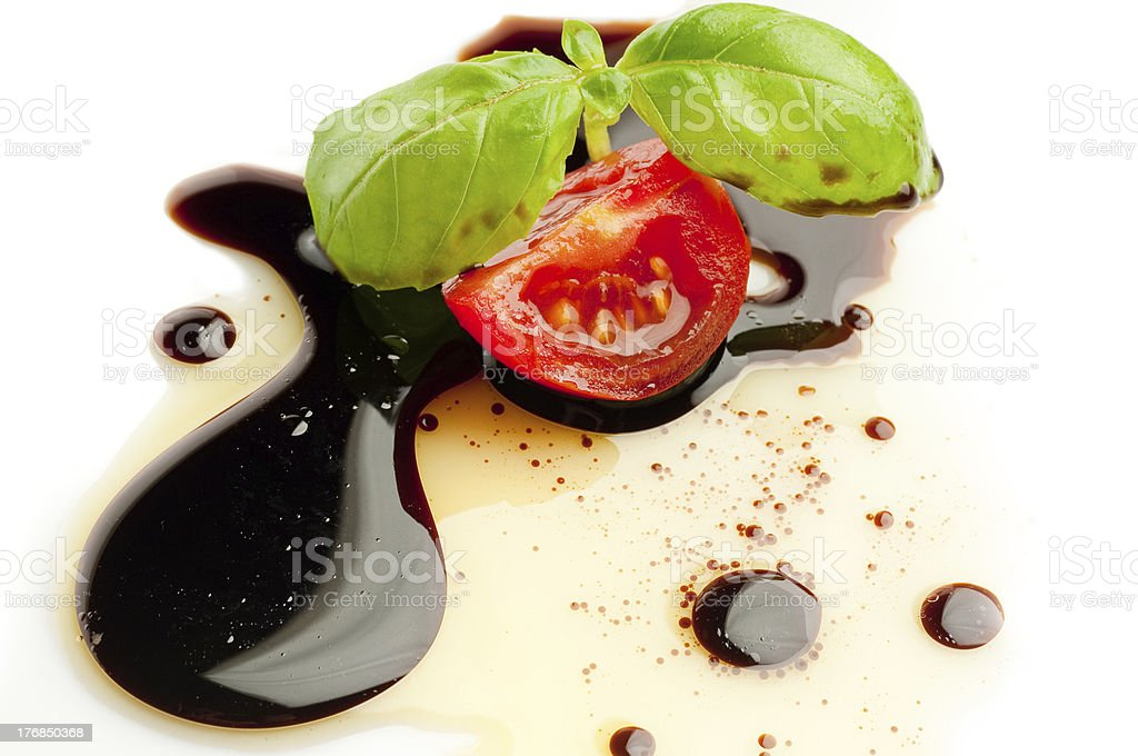 slice tomato and basil stock photo
