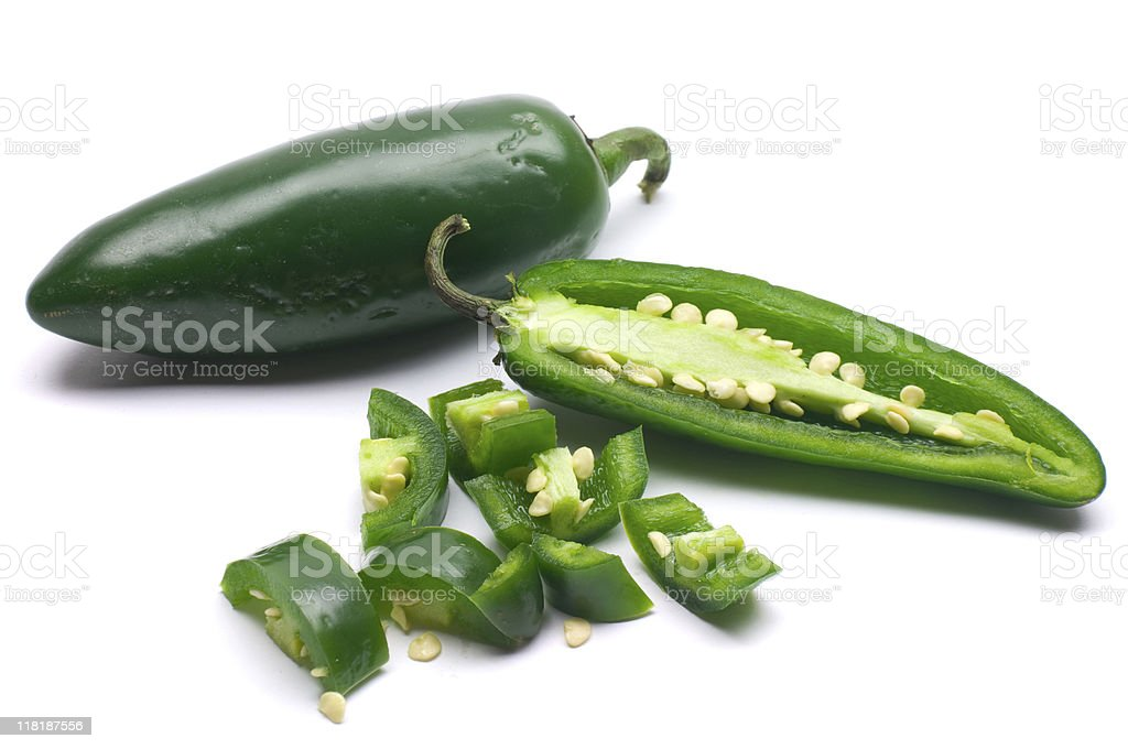 Sliced and Chopped Jalapeno royalty-free stock photo