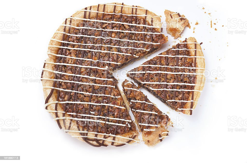 Sliced and Crumbled Pecan Pie royalty-free stock photo