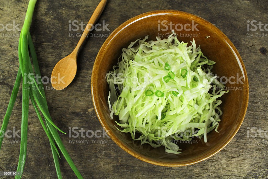 sliced and cut fresh green cabbage organic vegetable stock photo
