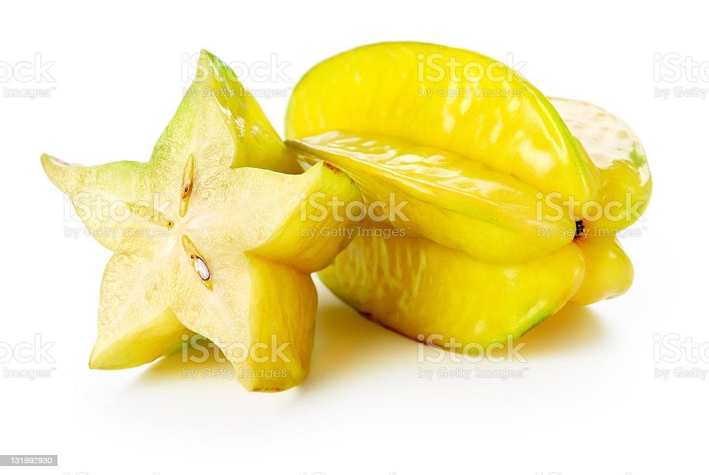 Sliced and full yellow Carambola star fruits stock photo