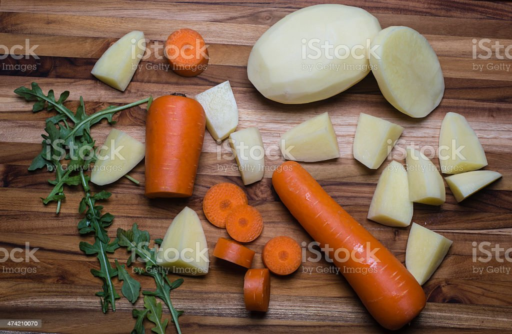 Sliced and Whole stew ingredients stock photo