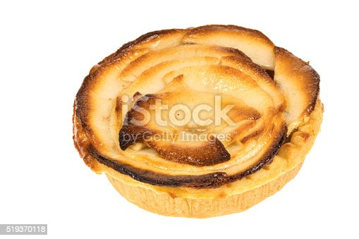 Dutch style sliced apple pie - white background