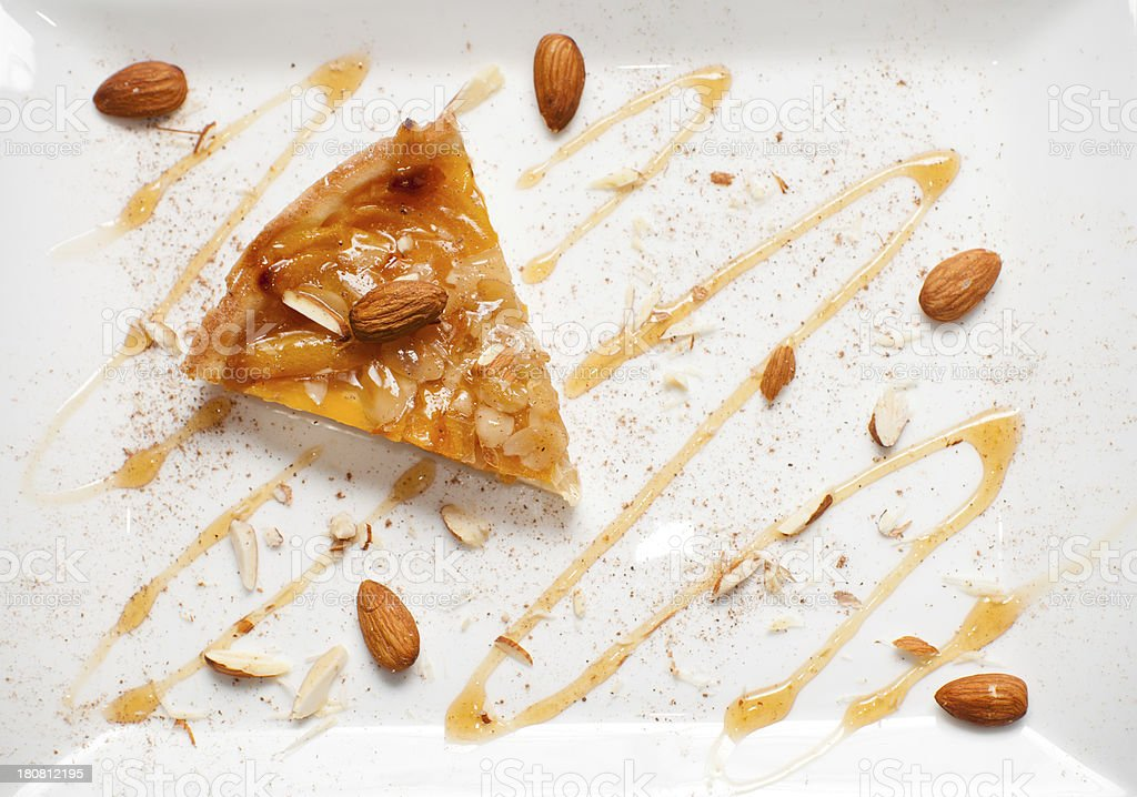 Sliced Apricot Peach Almond Tart with Cinnamon and Honey stock photo