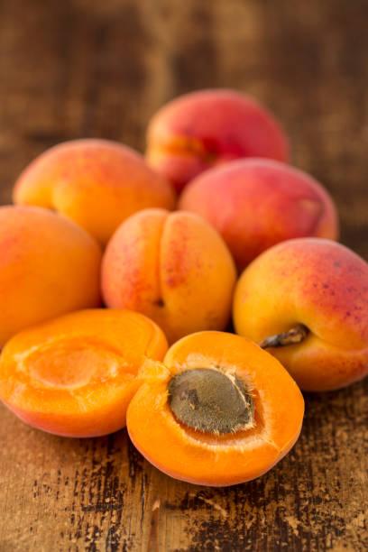 sliced apricots stock photo