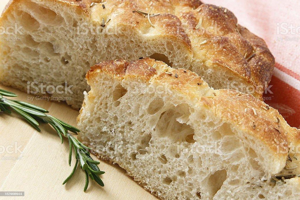 Sliced Artisan Focaccia Bread stock photo