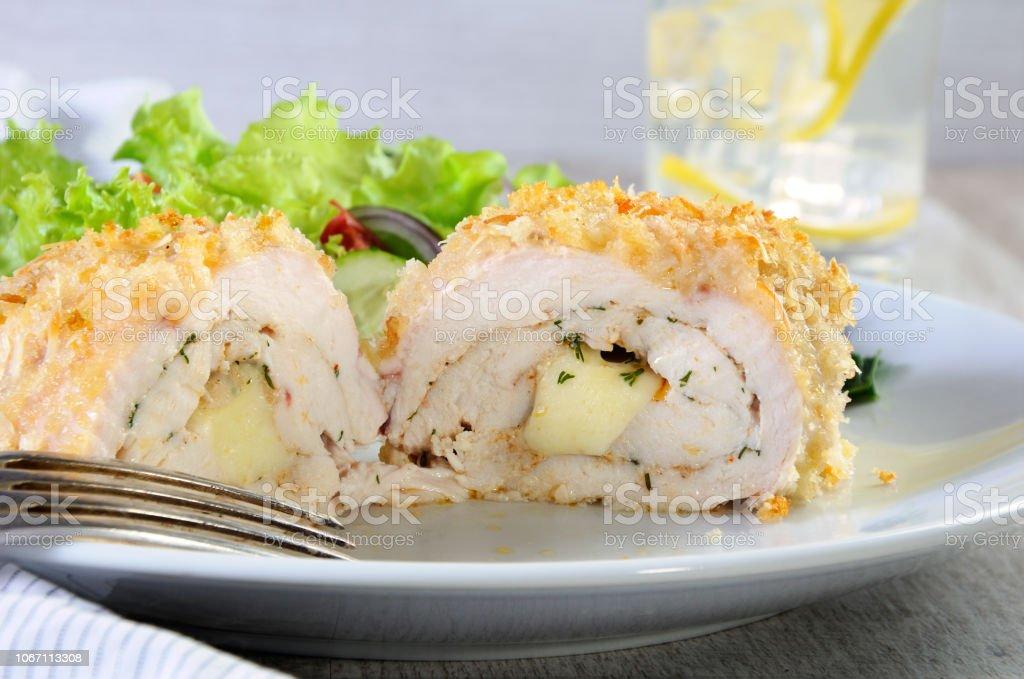 Sliced Baked Until Golden Crispy Crust Chicken Roll In