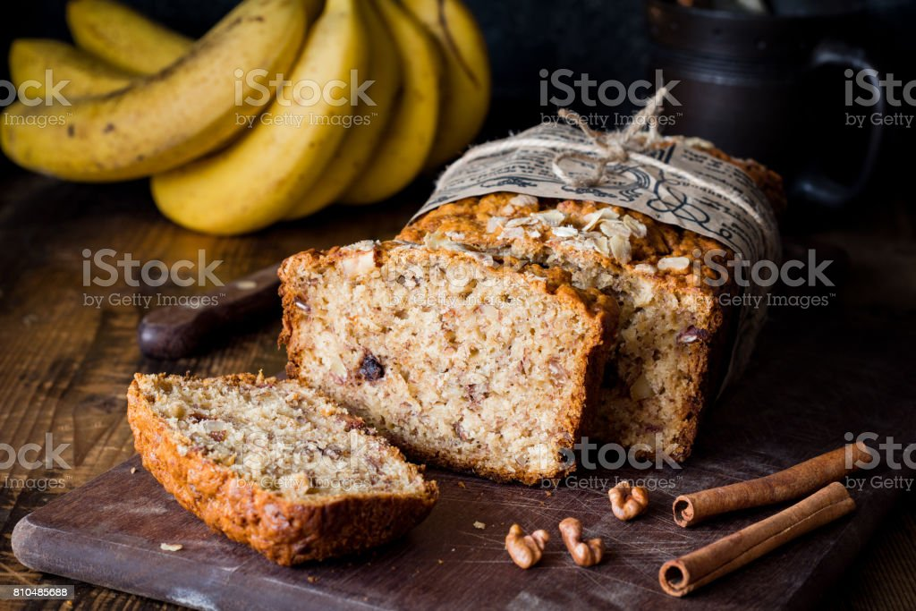 Sliced banana bread stock photo