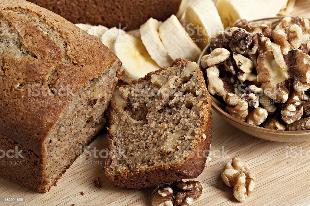 Sliced Banana Bread , Walnuts and Bananas stock photo