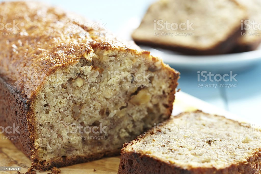 Sliced banana bread with walnuts stock photo