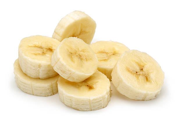 얇게 썬 바나나 스톡 사진