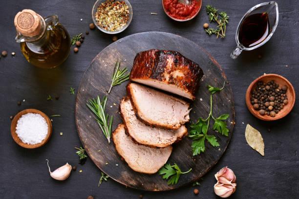 Sliced barbecue pork stock photo