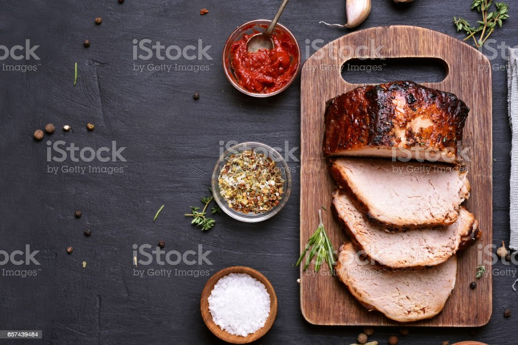 Sliced barbecue pork stock photo