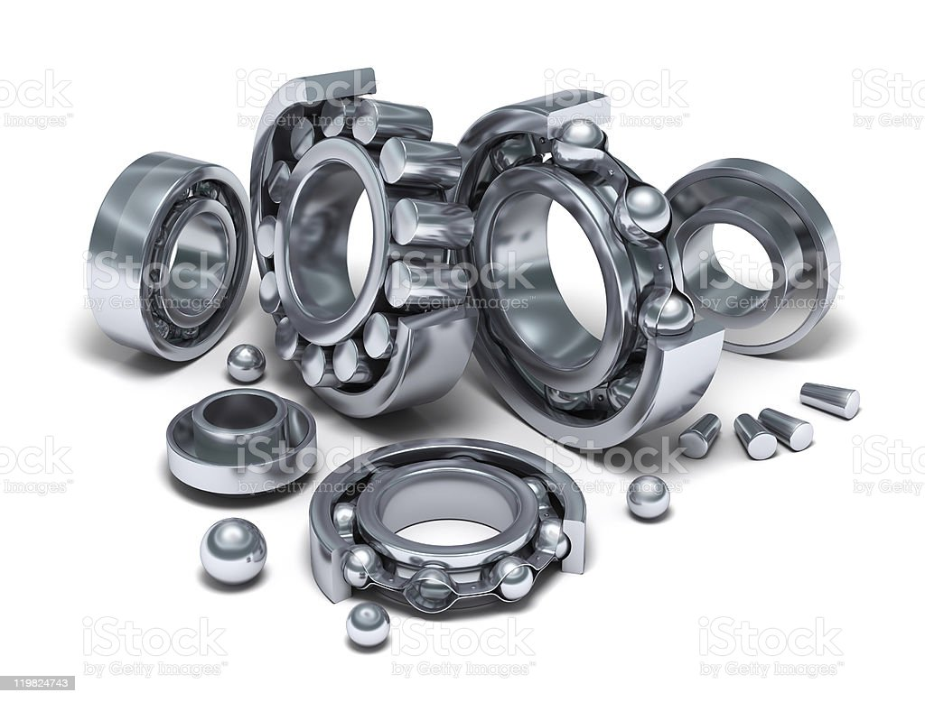 Sliced Bearings set and details royalty-free stock photo