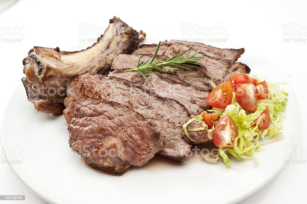 Sliced beef rib steak royalty-free stock photo