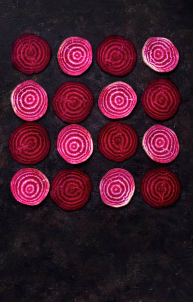 Cтоковое фото Sliced beetroot in pattern