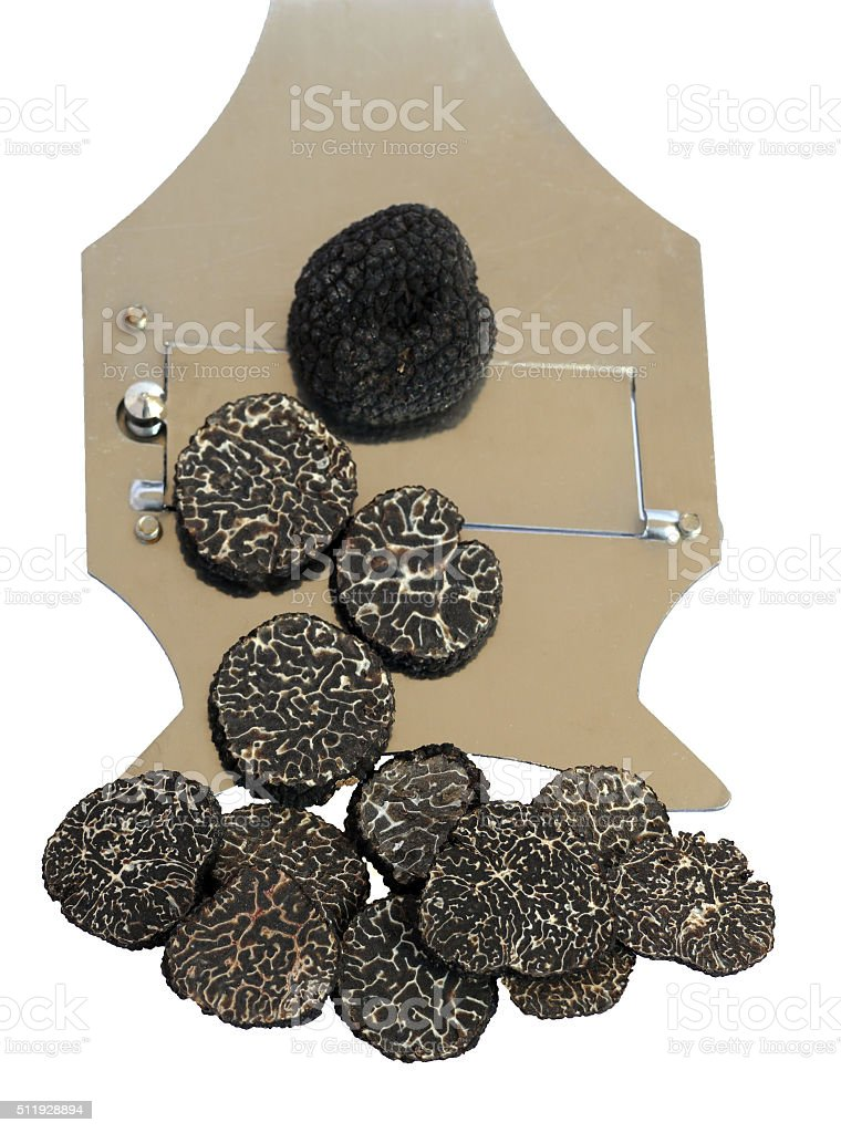 sliced black truffes stock photo