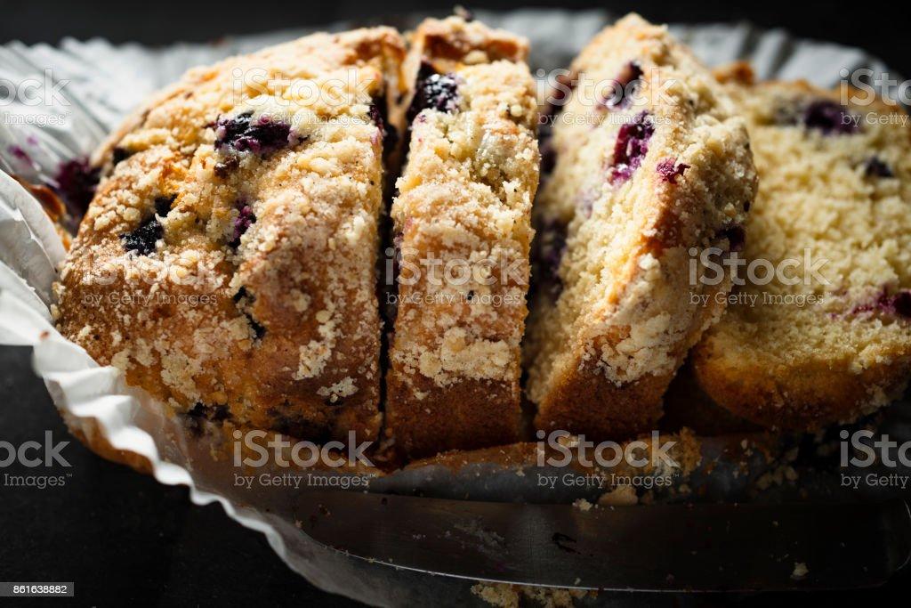 sliced blueberry loaf cake. stock photo