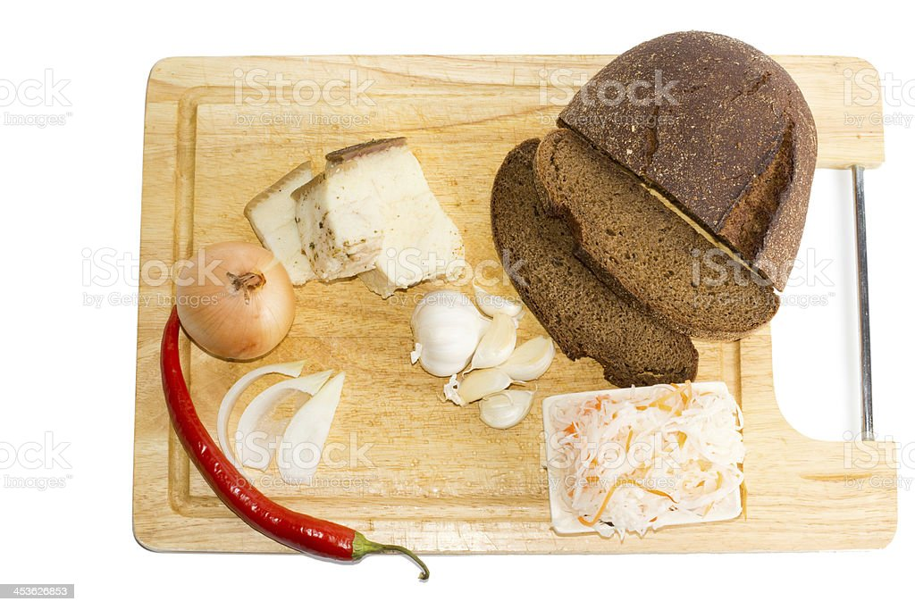 Sliced brown bread, red chilly and some salad royalty-free stock photo