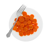 Top view of a portion of canned carrots on a plate with a fork isolated on a white background.