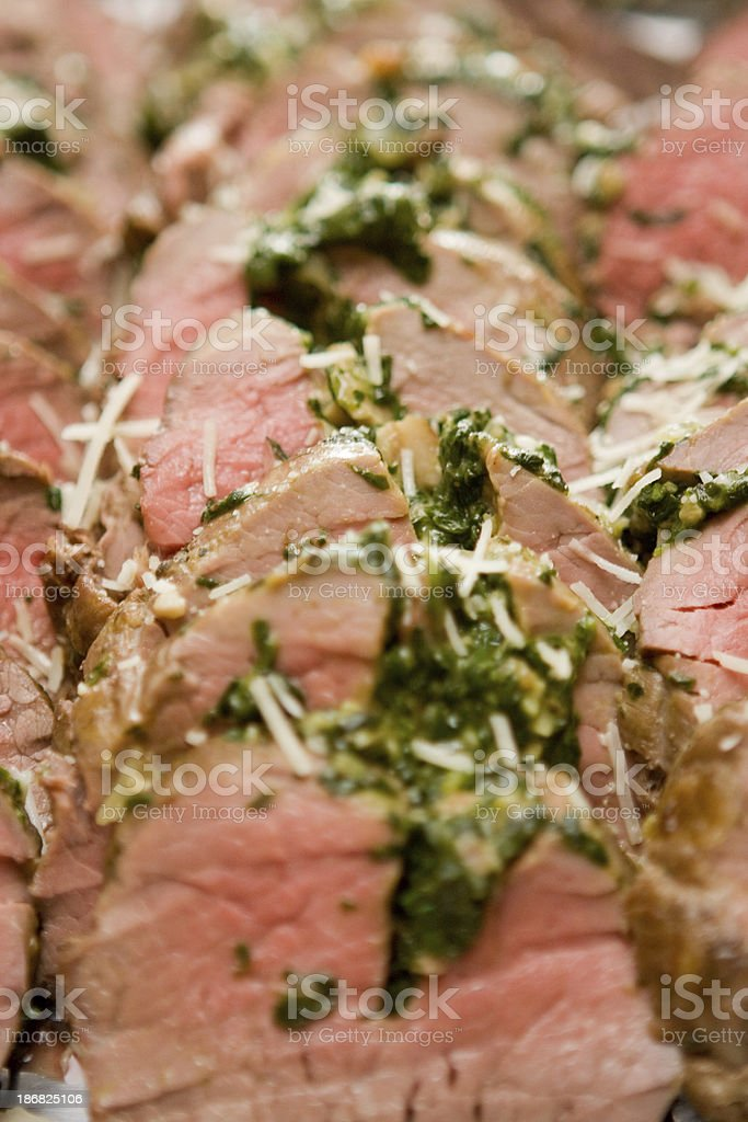 Sliced catered gourmet meat Pork or beef stock photo